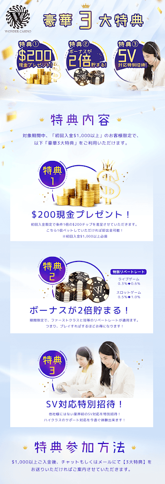 ワンダーカジノ(Wonder Casino) 豪華3大特典